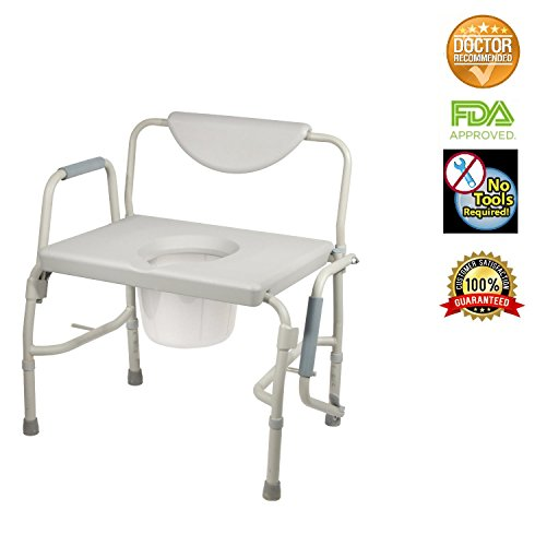 HEALTHLINE Heavy Duty Drop Arm Bariatric Commode | Bedside Commode Toilet Chair with Arms and Bathroom Safety Frame for Elderly, Adults | Adjustable Seat Height, Extra-Wide, 500 - Arm Adult