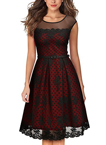 MissMay Women's Vintage Embroidered Lined Polka Dots Cocktail Swing Dress (Small, Wine Red)
