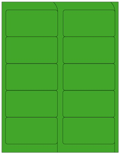 Compulabel 312142 Fluorescent Green Address Labels for Laser Printers, 4 x 2 Inch , Permanent Adhesive, 10 per Sheet, 100 Sheets per Carton 5163 Laser Printer Labels