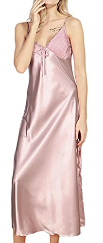 Happyyip Women Sexy Satin Lace Lingerie Trimmed Full Length Slip Nightgown Dress Pale Mauve US 14 = Tag XXXL