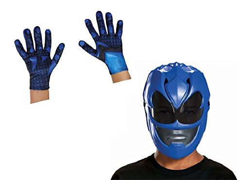 Boys Blue Power Ranger Movie Mask and Gloves (Child Blue Ranger Gloves)