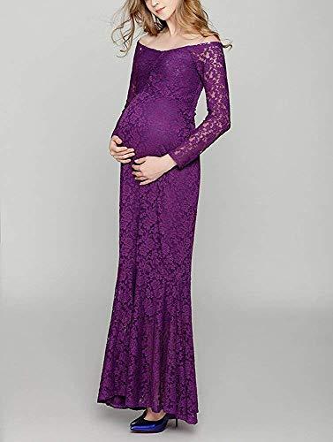 Gestante Festività Vestito Lila Da Pubblica Elegante Donna Sera Maternità Celebrità Abito Pizzo Fotografia Moda q40fw