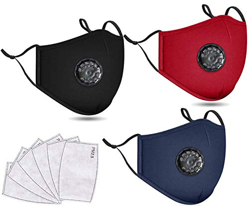 Ablest Washable Cotton Cloth Face Masc Reusable Cover with Activated Carbon Insert,M243 Pack Black/Navy/Burg+ 6 Insert