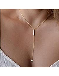 Womens Simply Sexy Triangle and Bar Tassels Chian Necklace