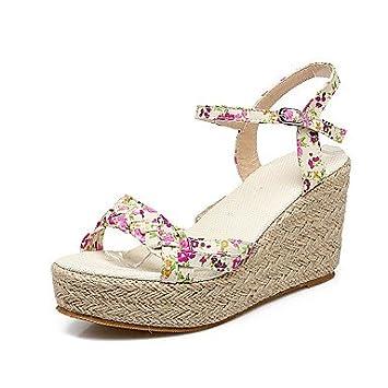 NVXZD Mujer-Tacón Cuña-Zapatos del club-Sandalias-Oficina y Trabajo Vestido  Informal-Tejido-Verde Rosa  68b9ecfcfd78