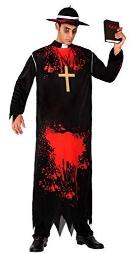 Adult Mens Zombie Priest Bloodied Vicar Halloween Fancy Dress Costume Outfit M/L (M/L)