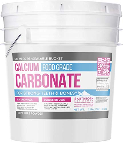 Calcium Carbonate Powder (1 Gallon (8 lb.)) by Earthborn Elements, Limestone Powder, Food & USP Pharmaceutical Grade, Toothpaste Additive, DIY Chalk Paint