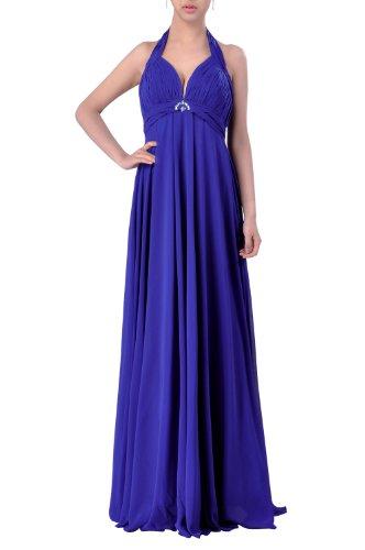 line Empire Full Length Halter Royal amp;Evening A Bridesmaid Blue Dress Special Occasion Chiffon C5qw5ar