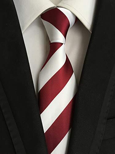 Professional Stripe Tie - Men's Classic Red White Stripe Tie Jacquard Woven Silk Tie Necktie + Gift Box