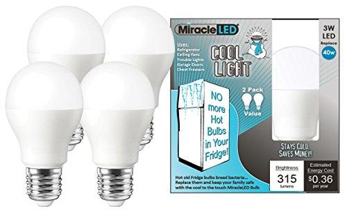 MiracleLED 604060 Refrigerator and Freezer Long Life Led Energy Saving Light Bulb, Daylight Cool White Color, 3 Watt Operating, 4-Pack,