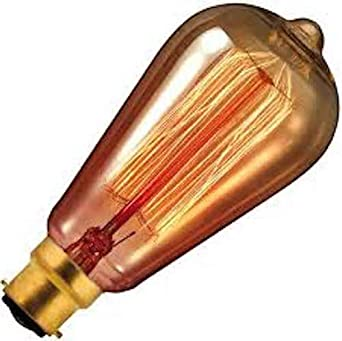 5 x Calex 40w Dimmable Goldline Filament Lamp B22/BC Gold Tint 130 Lumens Very Warm White 2000k 3, 000 Hours