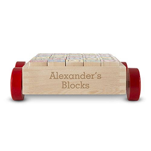 Melissa & Doug Personalized Classic Abc Wooden Block Cart Educational Toy with 30 Solid Wood (Custom Wood Letter Blocks)