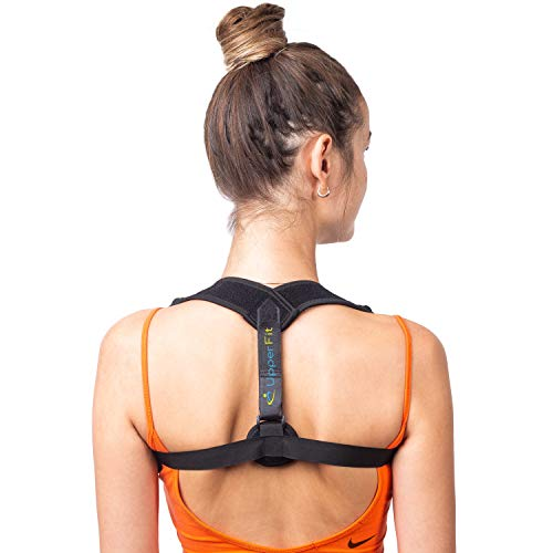 Back Posture Corrector for Women Men by UpperFit - Muscle Memory Programming Posture Correct Brace - Back Brace Support, Clavicle Support Posture Support for Upper Back Pain Relief w/ Kinesiology Tape