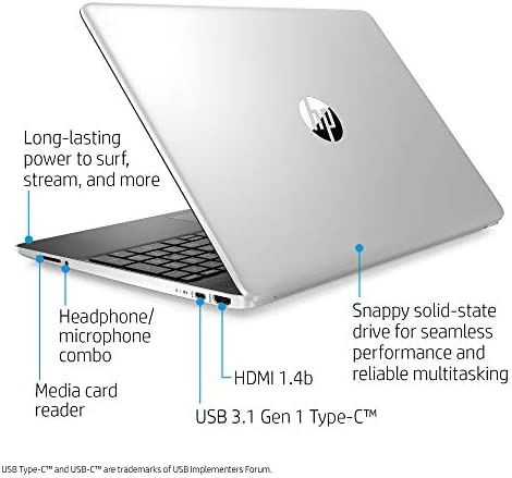 HP 15-Inch HD Touchscreen Laptop, 10th Gen Intel Core i3-1005G1, 4 GB SDRAM, 128 GB Solid-State Drive, Windows 10 Home in S Mode (15-dy1010nr, Natural Silver), 15-15.99 inches
