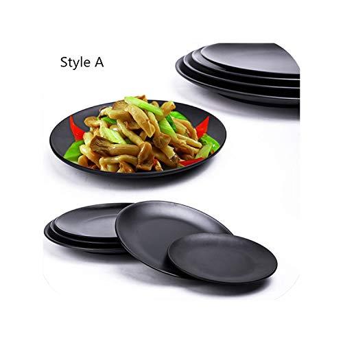 (Hot Sale Melamine Plate Dish Black Round Sushi Spaghetti Steak Salad Container Hot Pot Shop Japanese Cuisine BBQ Kitchen 1 PC,Style A,6 inch )