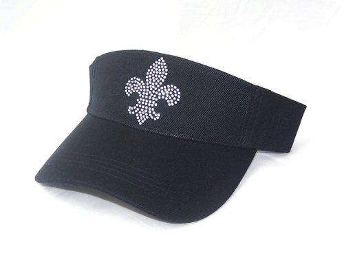Rhinestone Fleur De Lis Tennis Golf Black Sun Visor Hat
