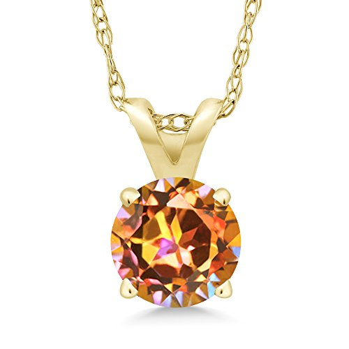Gemstone Topaz Mystic Pendant (1.00 Ct Round Ecstasy Mystic Topaz 14K Yellow Gold Pendant Necklace With 18 Inch Chain)
