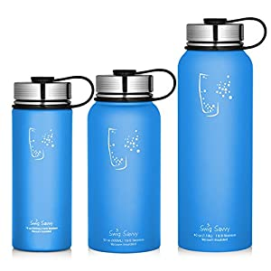 Swig Savvy Water Bottles Stainless Steel - Vacuum Insulated Water Bottle + Stainless Steel Leak & Sweat proof Cap Double Wall Thermos Flask For Hot or cold Beverages (Blue, 18oz)