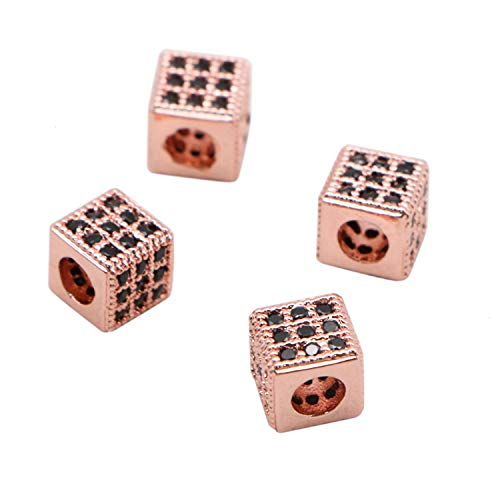 JETEHO 4Pcs 6x6mm Square Zircon Gemstones Cubic Zirconia Bracelet Connector Charm Beads for Jewelry Making