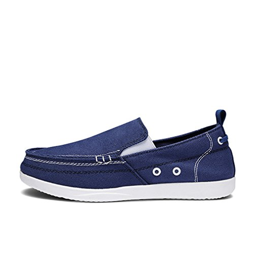 lienzo Shoes ligero Slip Transpirable Classic mocasines Jeans Casual Dark Men Bridfa para Blue Mens zapatos gris hombre On XY6RAFq