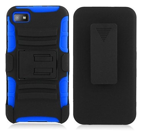 Blackberry Z10 case, Luckiefind Dual Layer Hybrid Side Kickstand Cover Case With Holster Clip with Stylus Pen Accessory (Holster Blue) Blackberry Blue Faceplates
