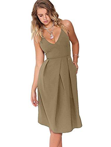 Eliacher Women's Deep V Neck Adjustable Spaghetti Straps Summer Dress Sleeveless Sexy Backless Party Dresses with Pocket (S, Khaki)