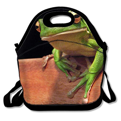 - Insulated Neoprene Lunch Bag Animal White Lipped Tree Frogs Reusable Lunch Tote Bags For Women,Kids,Adults,Lunch Boxes For Outdoors,Work,Office,School
