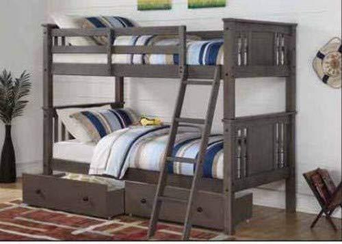 Donco Kids 316-TTSG_505-SG Princeton Bunk Dual Under Bed Dra