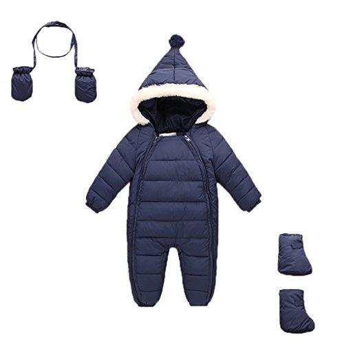 Baby Schneeanzug + Handschuhe + Footies Vine Winter Säugling mit Kapuze Spielanzug, Blau, 6-18 Monate