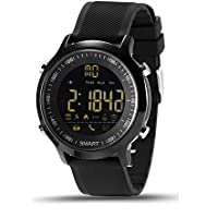 EX18 Smart Watch Men Sport Watch 5ATM Waterproof Bluetooth 4.0 Smartwatch Call Reminder Camera Remote Control Luminous Dial Watches for IOS Android (Black)