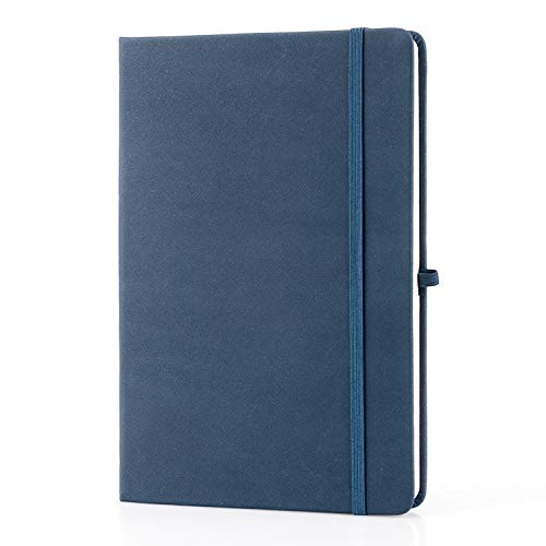 Classic Leather Journal - Classic Ruled Notebooks/Journals - IEOKE Premium Thick Paper Faux Leather Writing Notebook, Black, Hard Cover, Large, Lined (5.7 x 8.4 INCH) (Navy Blue, Ruled)