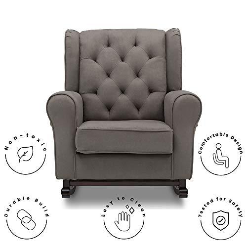 41tpJvIsSZL - Delta Children Emma Upholstered Rocking Chair, Graphite