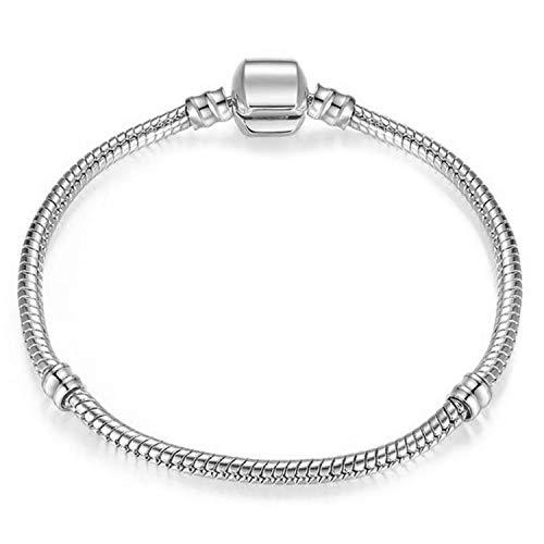 (victoriasong Silver Snake Chain Charm Bracelet Fit Original Beads Fine Bracelet Jewelry Gift for Women Gift)