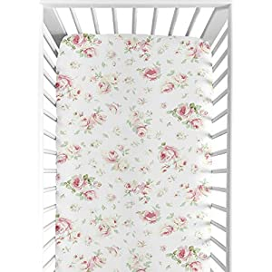Sweet Jojo Designs Fitted Crib Sheet for Riley's Roses Baby/Toddler Bedding Set Collection – Rose Print