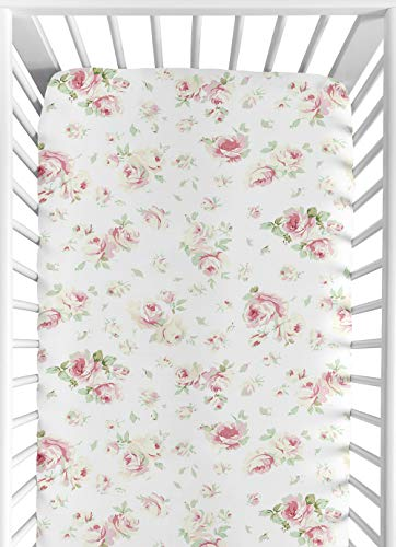Sweet Jojo Designs Fitted Crib Sheet for Riley's Roses Baby/Toddler Bedding Set Collection - Rose Print