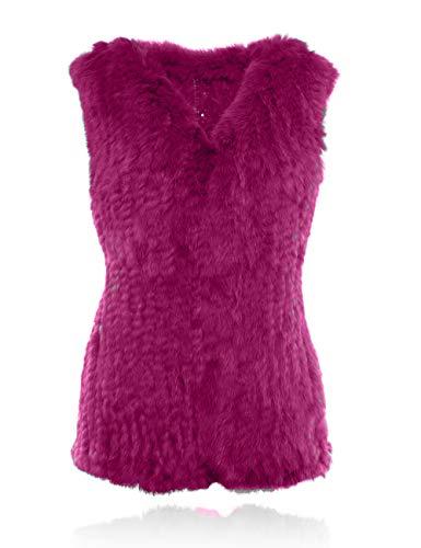HEIZZI 100% Gilet tricot Fourrure de Lapin Magenta