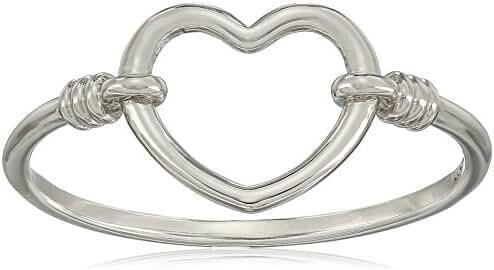 14k White Gold Heart Ring, Size 7