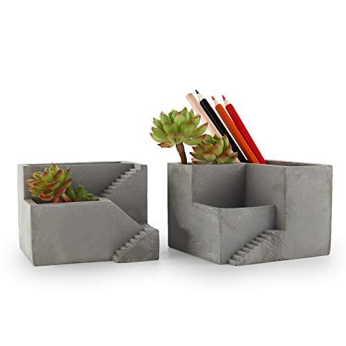 T4U Cement Succulent Pot Set of 2, Small Concrete with Compartments Flower Planter Container Desktop Organizer Herb Cactus Pen Pencil Holder for Home Office Decoration
