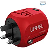 Universal Travel adapter, UPPEL International Power Adapter, Worldwide Travel Charger with 2.4A USB and USB-C 5V/3A Wall charger for US, AU, EU, UK, Asia Covers Over 150+ Countries (Red)
