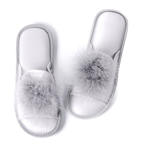 - Caramella Bubble Womens Open Toe Faux Fur Slippers | Ladies Pom Pom Fur Flat Slippers | Women's Indoor Outdoor House Slide Clog Memory Foam Silver