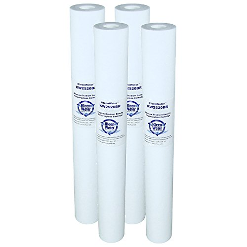 Scale and Corrosion Protection Water Filter Replacement Cartridges with Polyphospate filled core for KleenWater model KW2520SCALEX Hot Water Protector, 5 Micron, Set of 4