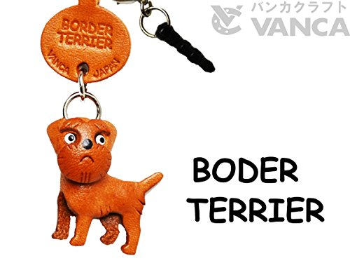 Border Terrier Leather Dog Earphone Jack Accessory / Dust Plug / Ear Cap / Ear Jack *VANCA* Made in Japan #47793