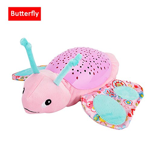 per Plush Animals Star Projector Nightlight with Music Stuffed Toys Luminous Projection Comfort Toys for Kids Baby Toddlers-Butterfly by Per