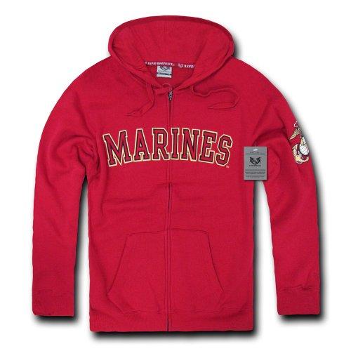 Rapiddominance US Marines Full Zip Hoodie, Cardinal, Large