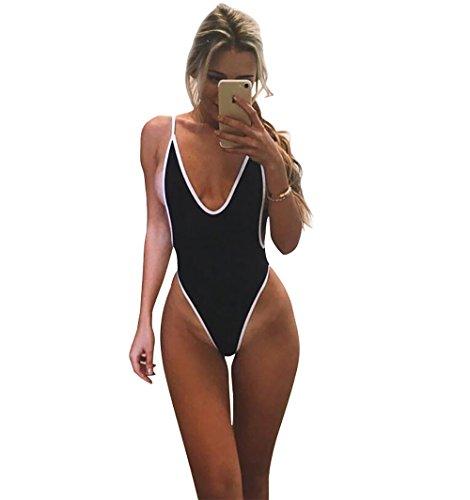 Women Backless Elastic Monokini Swimsuit Black - 7