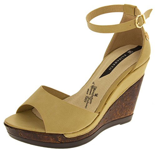 Elisabeth Womens Beige Wedge Sandals US 10