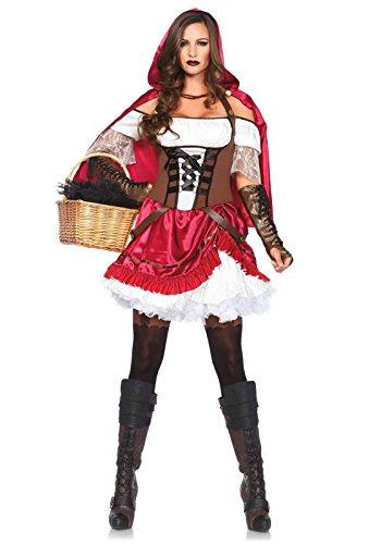 Leg Avenue Women's 2 Piece Rebel Riding Hood Costume, Multi, Small -