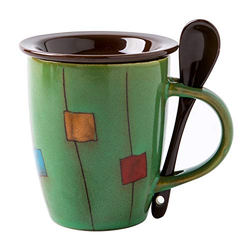 Verdental Coffee Mugs Ceramic Tea Cup with Spoon and Lid Retro Drum Shaped Novelty Mug Sets Green Office Mug Water Cup (Green) (Drums Of Autumn Set)