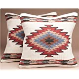 PAIR Southwestern Wool Throw Pillow Covers 18x18 Hand Woven Western Pattern for Native American Style and Rustic Cabin Decor (Papago)