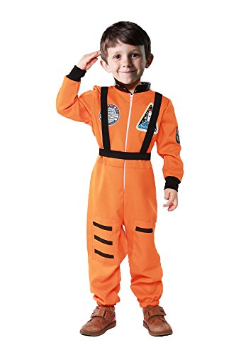 [Astronaut Costume for Little Kids' Role Play (M(Height:43-47), Orange 2)] (Astronaut Costumes Toddler)